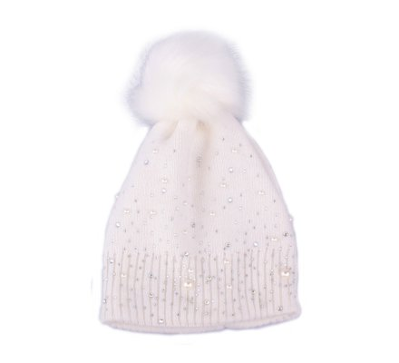 Bonnet blanc à pompon perles et strass