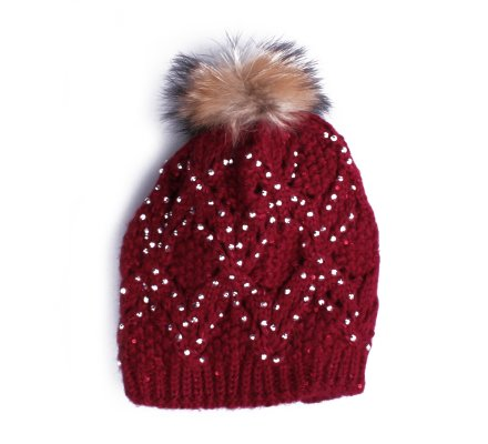 Bonnet rouge bordeaux Ondée de strass et pompon marron