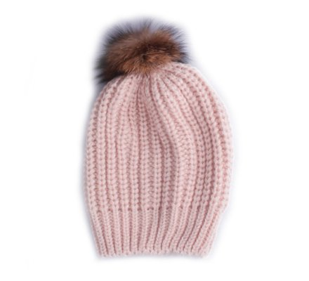 Bonnet Torsadia rose et pompon marron