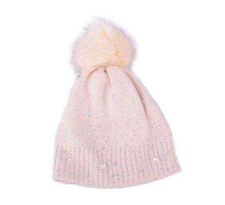 Bonnet beige à pompon perles et strass