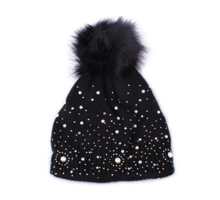 Bonnet noir à pompon perles et strass