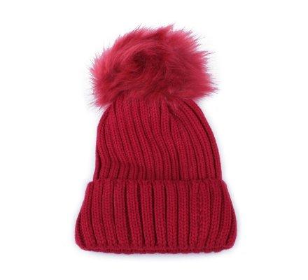 Bonnet à pompon rouge bordeaux rembourré