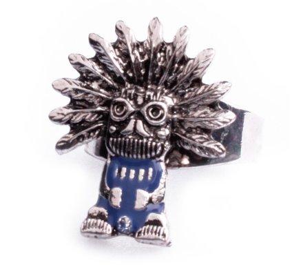 Bague Lolilota ethnique Papou maya argent et bleue femme