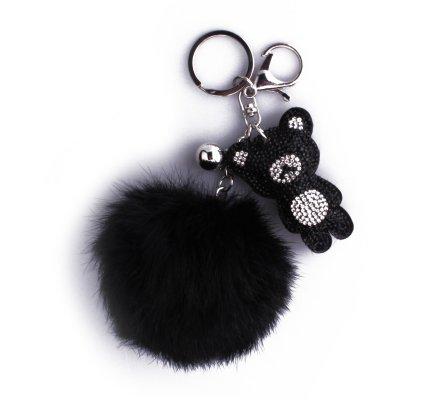 Porte-clés Pompon noir et nounours à strass