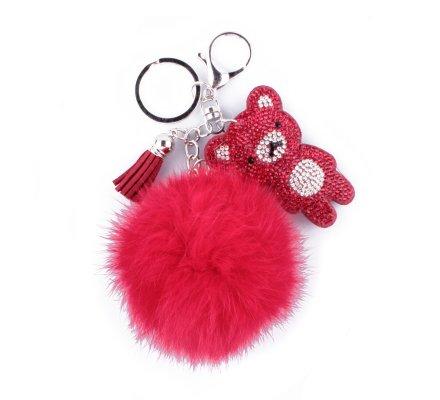 Porte-clés pompon rouge et nounours à strass