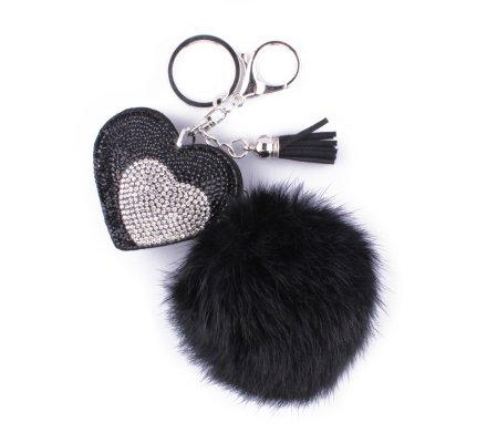 Porte-clés pompon noir et coeur à strass