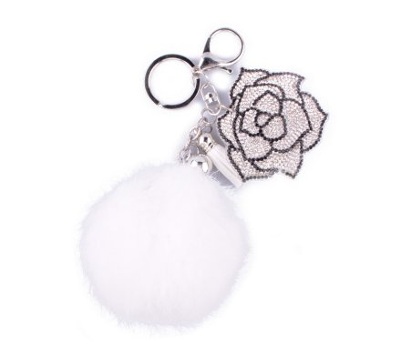 Porte-clés pompon blanc et rose de strass