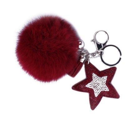 Porte-clés pompon rouge et étoile à strass