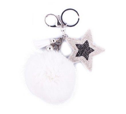 Porte-clés pompon blanc et étoile à strass