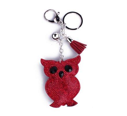Porte-clés hiboux rouge à strass