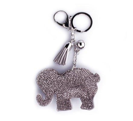 Porte-clés éléphant gris à strass