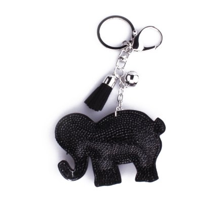 Porte-clés éléphant noir à strass