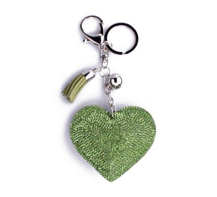 Porte-clés coeur vert à strass