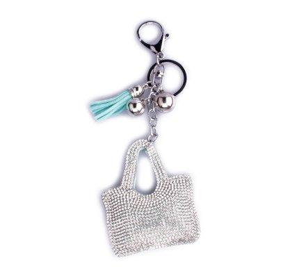 Porte-clés sac à main bleu à strass argent