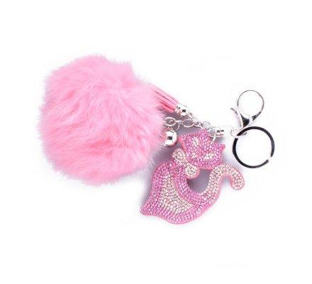 Porte-clés pompon rose et chat siamois strass