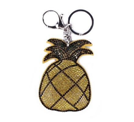 Porte-clés Ananas jaune à strass