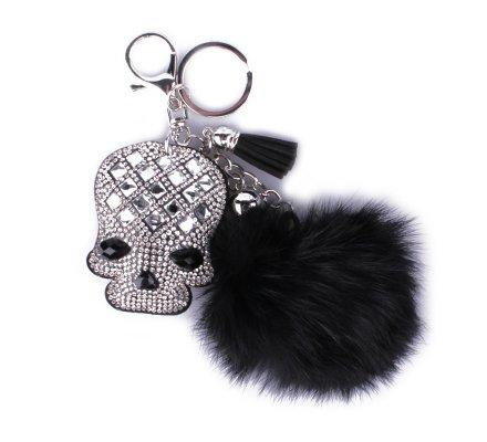 Porte-clés pompon noir tête de mort strass