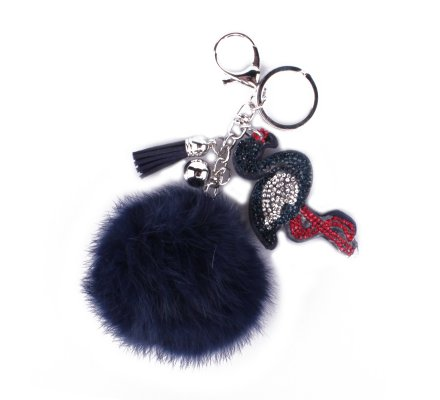 Porte-clés pompon bleu flamant rose strass bleu rouge argent