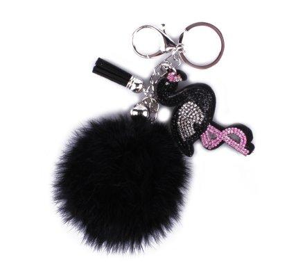 Porte-clés pompon noir flamant rose strass noir rose argent