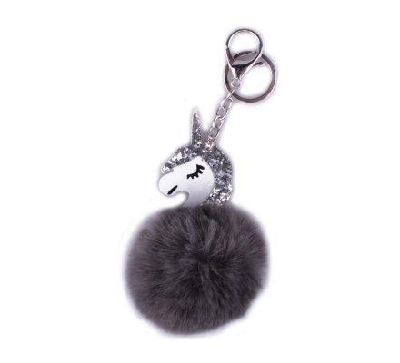 Porte-clés licorne boule de poils gris foncés