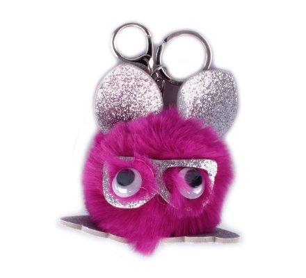 Porte-clés Bête à lunettes poils roses fuchsia paillettes argent