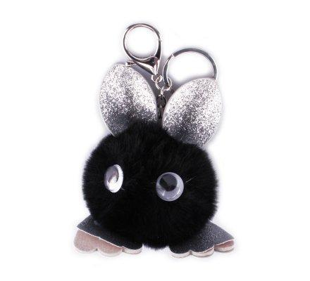 Porte-clés Bête à lunettes poils noirs paillettes argent