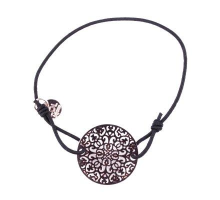 Bracelet Lolilota élastique noir rosace filigrane cuivrée