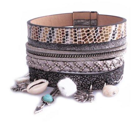 Bracelet Lolilota Manchette aimanté Indiana tons gris femme