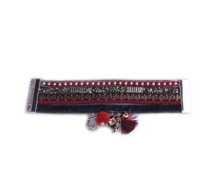 Bracelet Lolilota manchette aile et pompon rouge multicolore Perlada