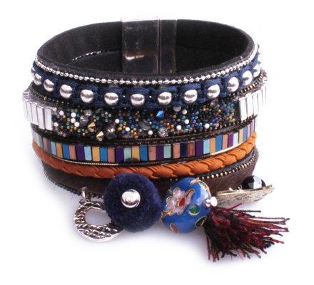 Bracelet Lolilota Manchette Perlada aile et pompon bleu multicolore