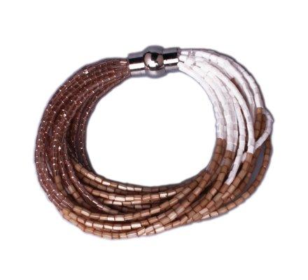 Bracelet Lolilota de perles aimanté camel doré et blanc