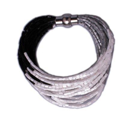 Bracelet Lolilota de perles aimanté noir gris et blanc