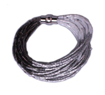 Bracelet Lolilota de perles aimanté gris et argent