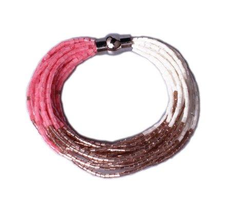 Bracelet Lolilota de perles aimanté rose doré et blanc