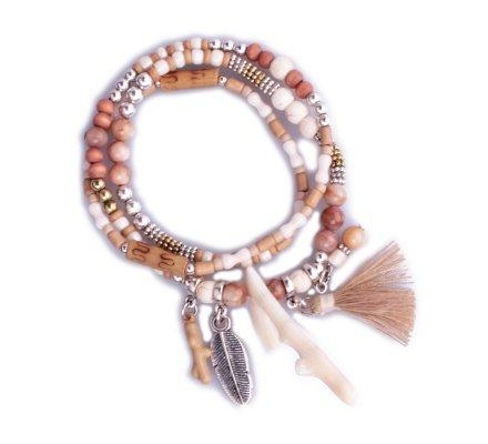 Bracelet Lolilota de perles multirangs marron et blanc Naturalis