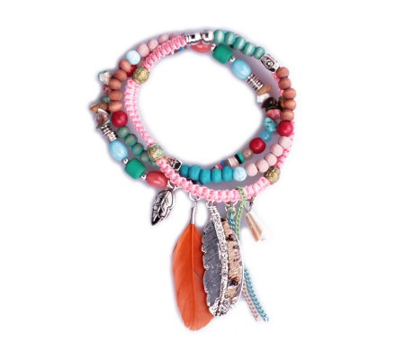 Bracelet Lolilota de perles multirangs Plumes multicolore