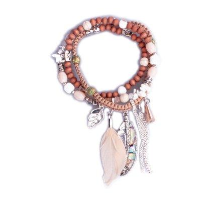 Bracelet Lolilota de perles multirangs Plumes marron et blanc