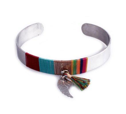 Bracelet Lolilota jonc argent pompon multicolore et aile d'ange
