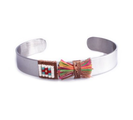 Bracelet Lolilota jonc argent nœud multicolore et perles