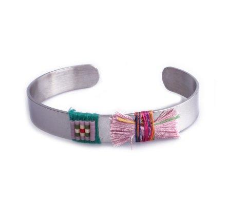 Bracelet Lolilota jonc argent nœud rose et vert et perles
