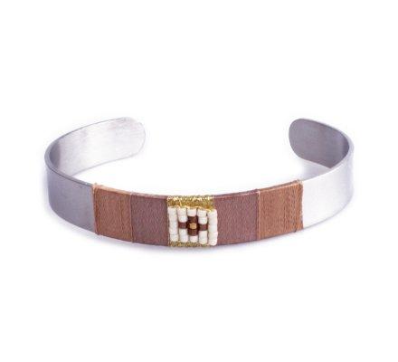 Bracelet Lolilota jonc carré de perles blanches et dorées