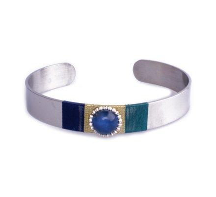 Bracelet Lolilota jonc argent bleu doré et perle brillante bleue