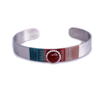 Bracelet Lolilota jonc argent turquoise camel et perle brillante rouge