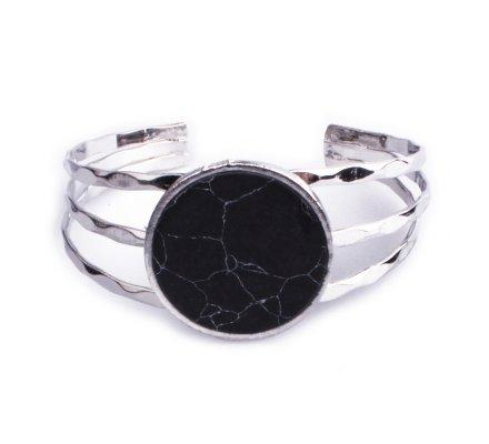 Bracelet Lolilota manchette argent rond marbre noir