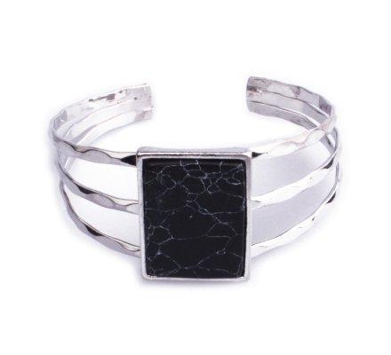 Bracelet Lolilota manchette argent rectangle marbre noir