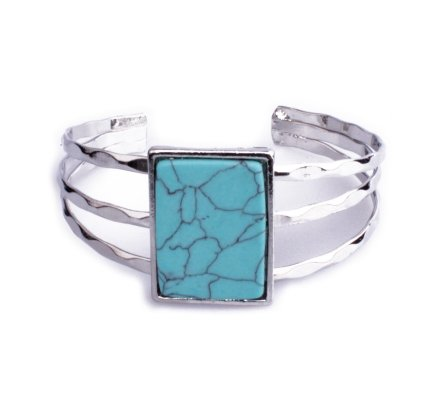 Bracelet Lolilota manchette argent rectangle marbre bleu turquoise