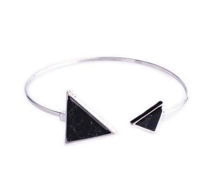 Bracelet Lolilota jonc argent double triangle marbre noir