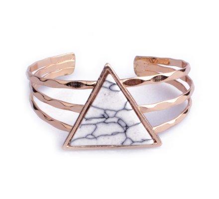Bracelet Lolilota manchette doré triangle marbre blanc