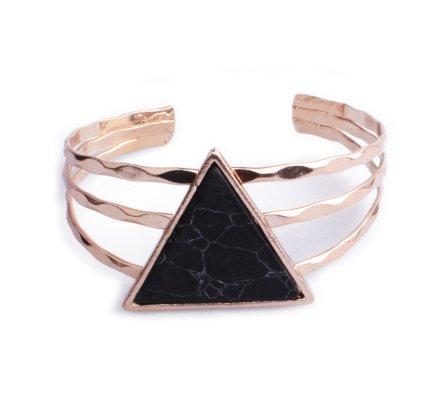 Bracelet Lolilota manchette doré triangle marbre noir