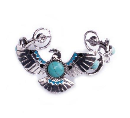 Bracelet Lolilota ethnique aigle royal argent perles bleues turquoises